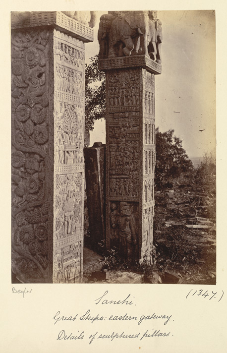 Close view of sculptured pillars of the East Gateway of the Great Stupa, Sanchi, Bhopal State 10031347